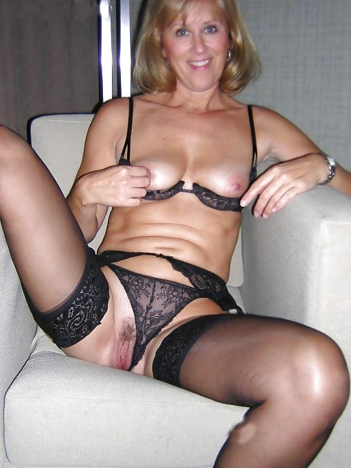 Amateur mature black lingerie really